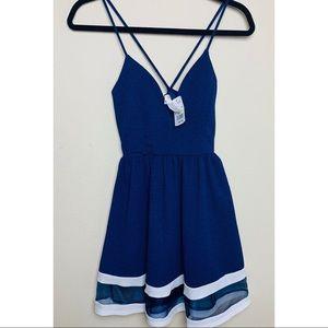 NWT A'GACI fit and flare plunge mini dress
